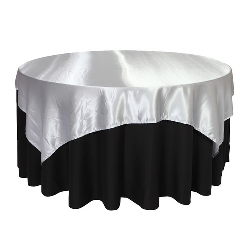 72 inch Square Satin Table Overlays Silver