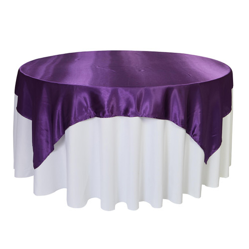72 inch Square Satin Table Overlays Purple