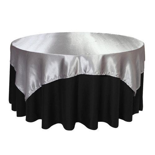 72 inch Square Satin Table Overlays Dark Silver / Platinum