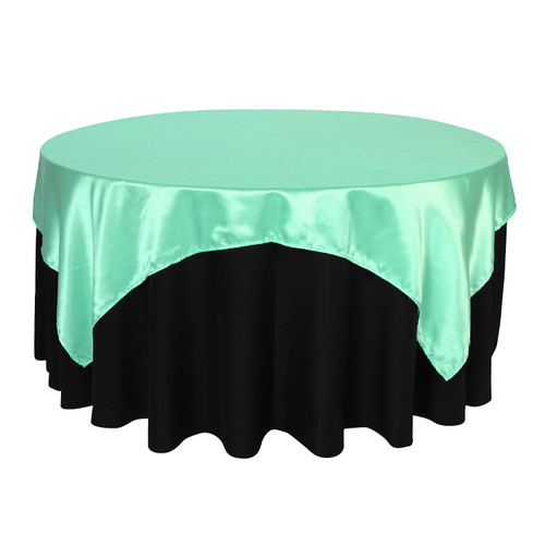 72 inch Square Satin Table Overlays Tiffany