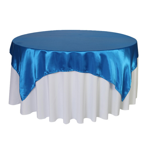72 inch Square Satin Table Overlays Royal Blue