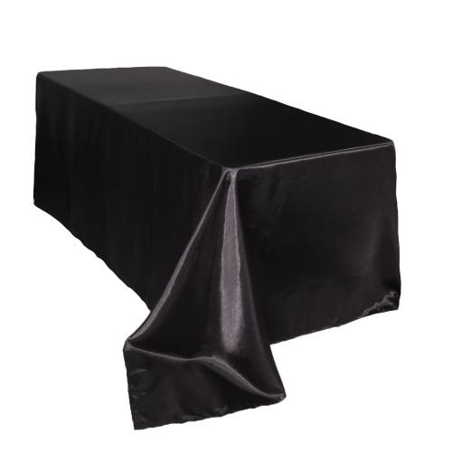 90 x 132 inch Rectangular Satin Tablecloth Black