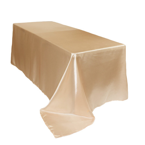 90 x 132 inch Rectangular Satin Tablecloths Champagne