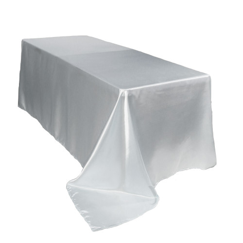 90 x 156 inch Rectangular Satin Tablecloths White