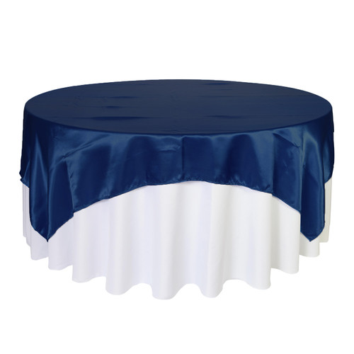 90 inch Square Satin Table Overlays  Navy Blue
