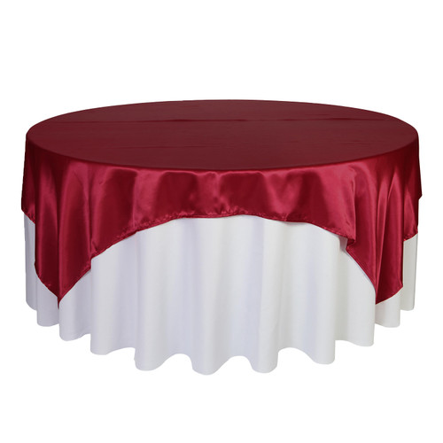 90 inch Square Satin Table Overlays  Dark Red
