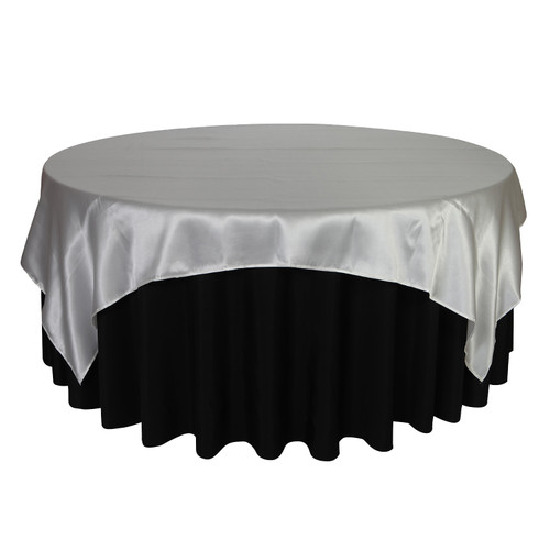 90 inch Square Satin Table Overlays Silver