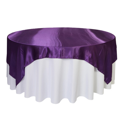 90 inch Square Satin Table Overlays Purple