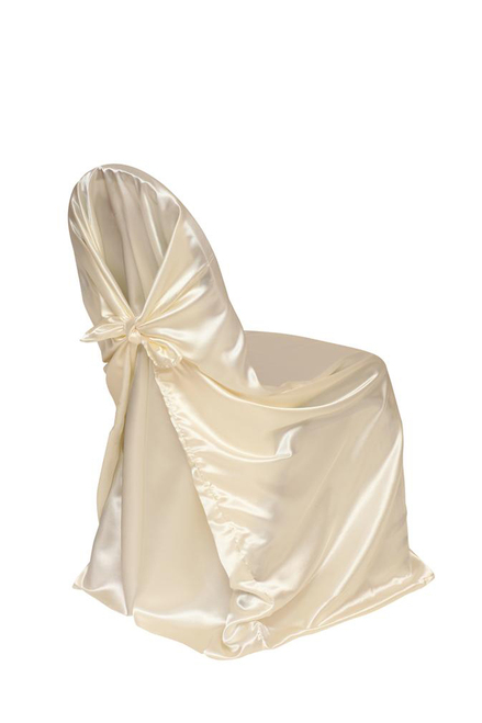 Satin Self-Tie Universal Chair Covers Ivory