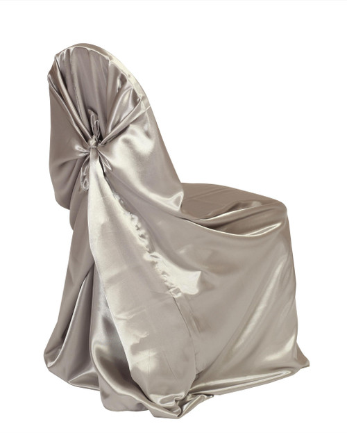 Satin Self-Tie Universal Chair Covers Dark Silver / Platinum