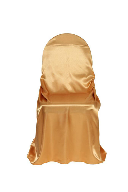 Wholesale Satin Self-Tie Universal Chair Covers Gold