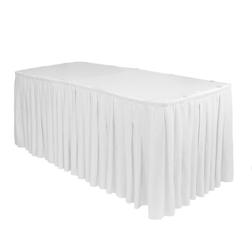 17 ft x 29 inch Polyester Pleated Table Skirt White