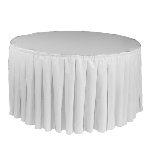 17 ft x 29 inch Polyester Pleated Table Skirt White for round tables
