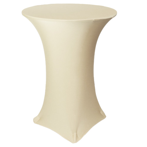 30 inch Highboy Cocktail Round Stretch Spandex Table Covers Ivory