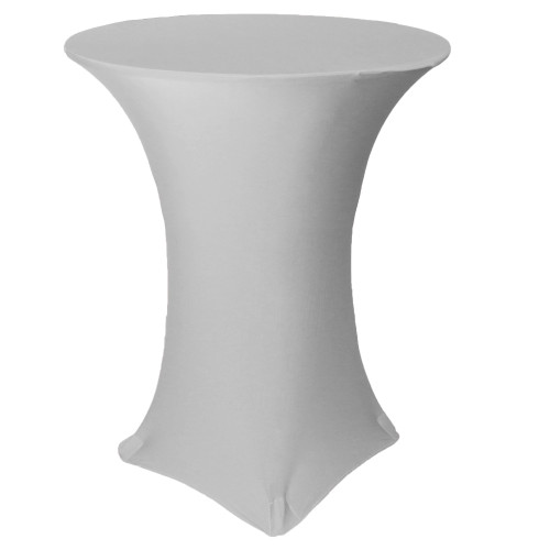 36 inch Highboy Cocktail Round Stretch Spandex Table Covers Silver