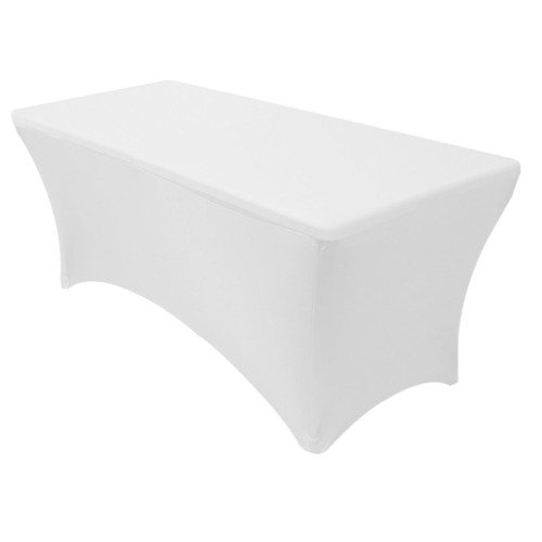 white rectangular spandex table covers