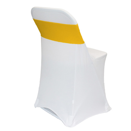 Stretch Spandex Chair Bands Gold on folding chairs