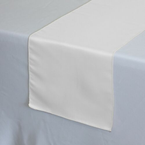 14 x 108 inch L'amour Satin Table Runner in White on a white tablecloth