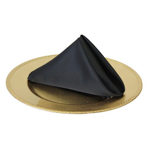 20 inch L'amour Satin Napkins Black