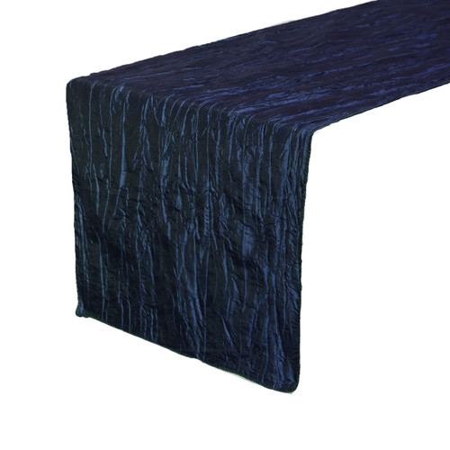 Navy Blue Table Runners, Crinkle Taffeta Table Runner for Weddings