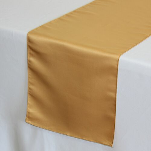 14 x 108 inch L'amour Satin Table Runners Gold