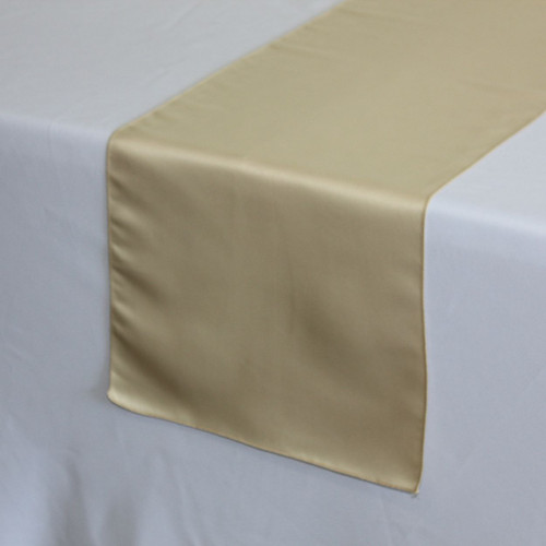 14 x 108 inch L'amour Satin Table Runners Champagne