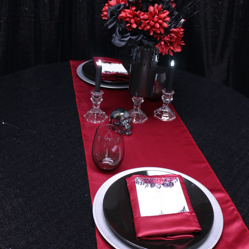 14 x 108 inch Lamour Satin Table Runners  dark red, gothic wedding