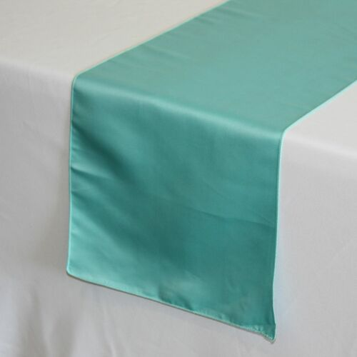 14 x 108 inch L'amour Satin Table Runners Turquoise