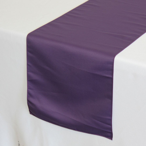 14 x 108 inch Lamour Satin Table Runners in Purple on a white tablecloth