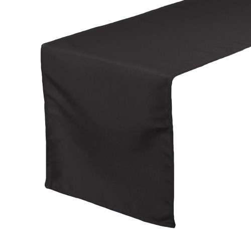 Black Table Runners, Polyester Table Runner for Weddings