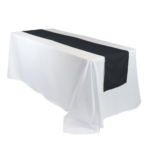14 x 108 Inch Polyester Table Runner Black on rectangular tables
