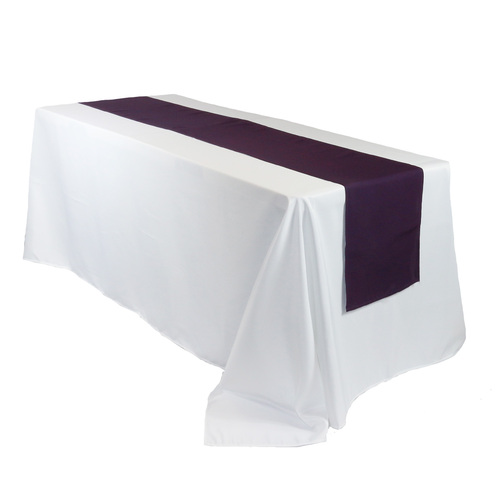 14 x 108 Inch Polyester Table Runner Eggplant on rectangular table