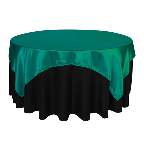 72 inch Square Satin Table Overlays Teal
