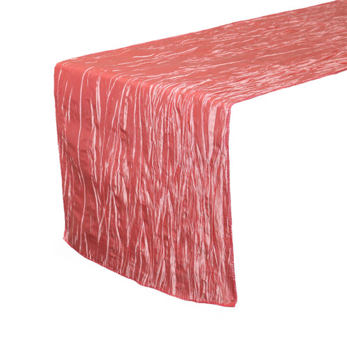 Coral Table Runners, Crinkle Taffeta Table Runner for Weddings