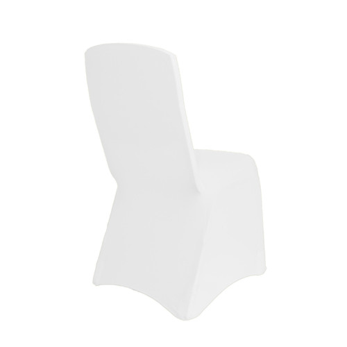 Square Top Spandex Chair Covers White