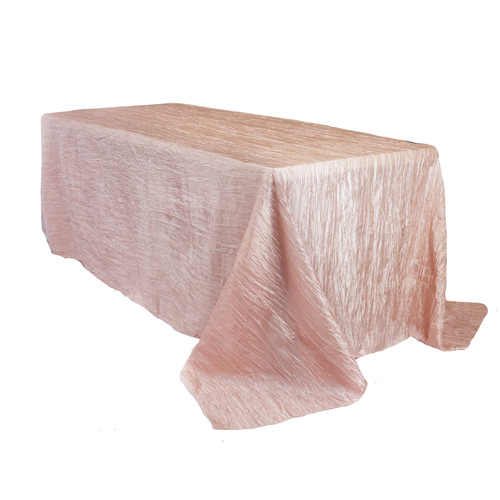 90 x 156 Inch Rectangular Crinkle Taffeta Tablecloth Blush