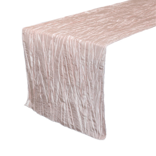14 x 108 inch Crinkle Taffeta Table Runner Blush