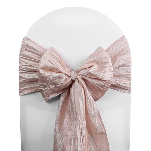 10 Pack Crinkle Taffeta Chair Sashes Blush