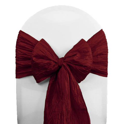 Crinkle Taffeta Chair Sashes Burgundy