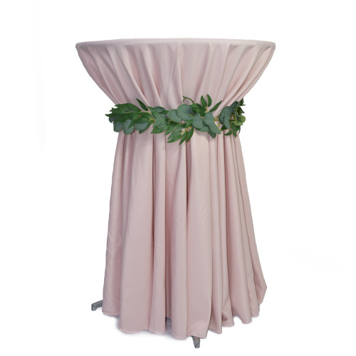120 inch Round Polyester Tablecloths Blush on cocktail table