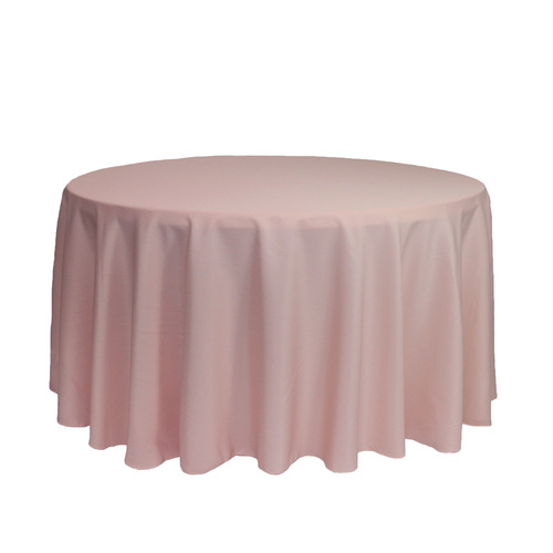 120 inch Round Polyester Tablecloths Blush