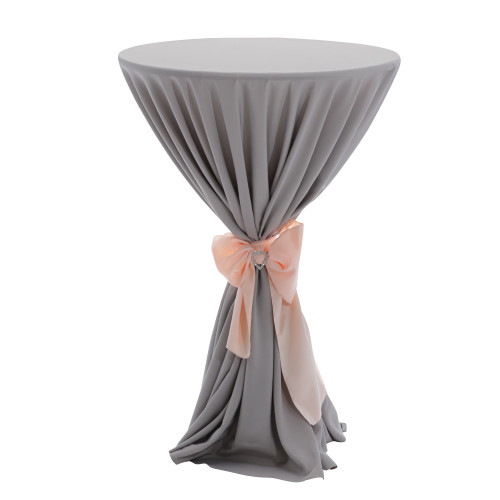 120 Inch Round Polyester Tablecloth Gray on cocktail table