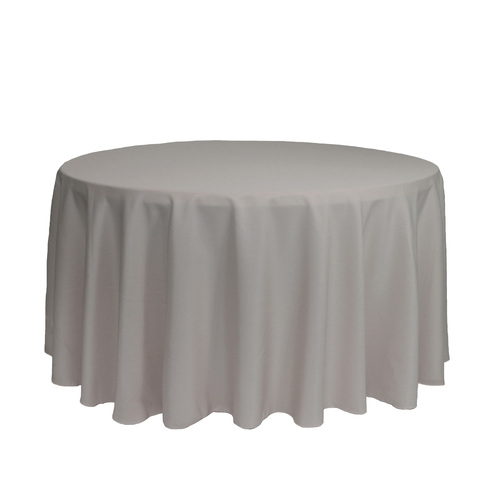 120 Inch Round Polyester Tablecloth Gray