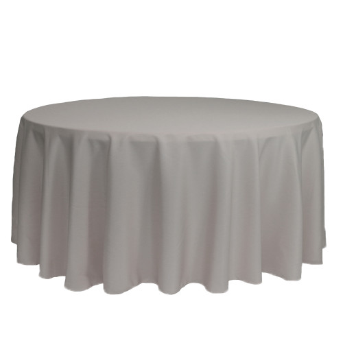132 inch Round Polyester Tablecloths Gray