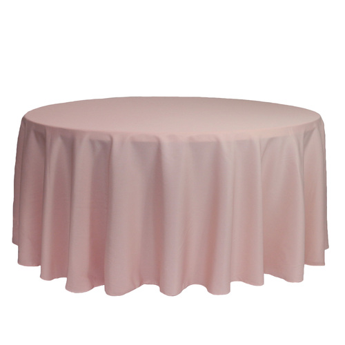 132 inch Round Polyester Tablecloths Blush