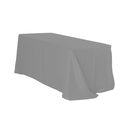 90 x 156 Inch Rectangular Polyester Tablecloth Gray