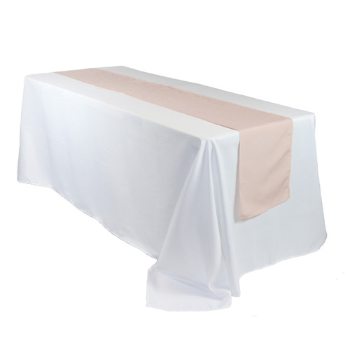 14 x 108 inch Polyester Table Runners Blush on rectangular table