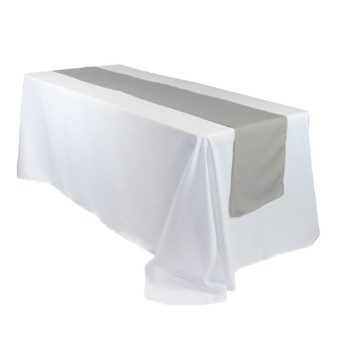 14 x 108 inch Polyester Table Runners Gray on rectangular tables