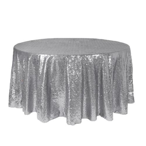 120 inch Round Glitz Sequin Tablecloth Silver