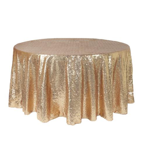 120 inch Round Glitz  Tablecloths Champagne